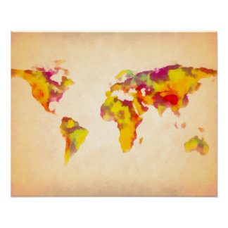 world map watercolor painting print