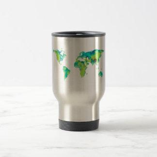 world map watercolor painting travel mug
