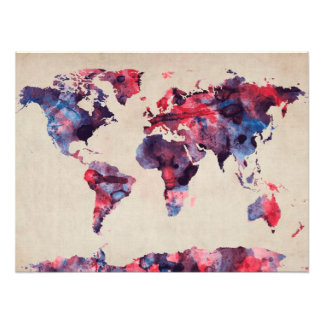 World Map Watercolor Photograph