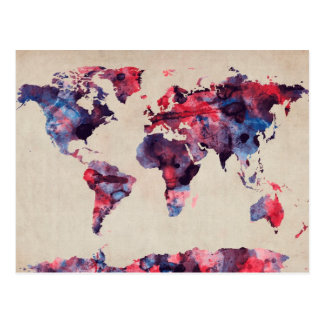 World Map Watercolor Postcard