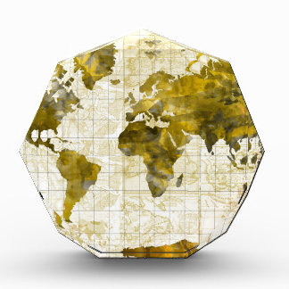 world map watercolor sepia award