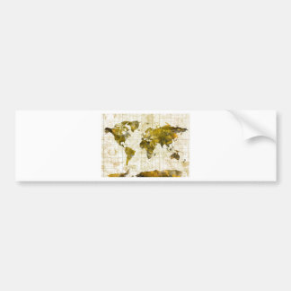 world map watercolor sepia bumper sticker