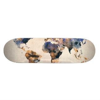World Map Watercolor Custom Skateboard