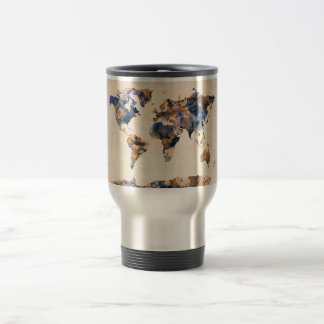 World Map Watercolor Travel Mug