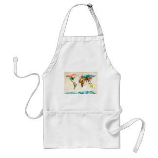 World Map Watercolors Adult Apron