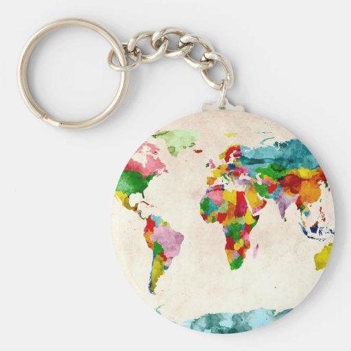 World Map Watercolors Basic Round Button Keychain