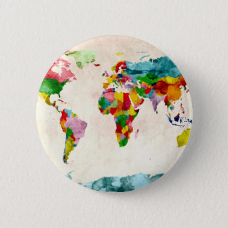 World Map Watercolors Button