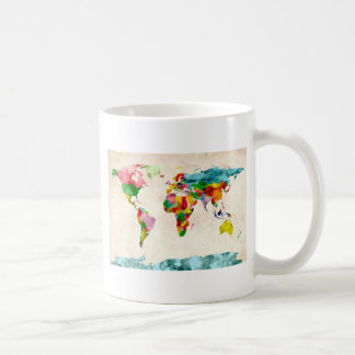 World Map Watercolors Coffee Mug
