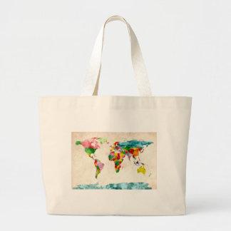 World Map Watercolors Large Tote Bag