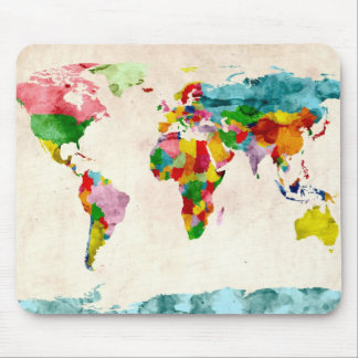 World Map Watercolors Mouse Pad
