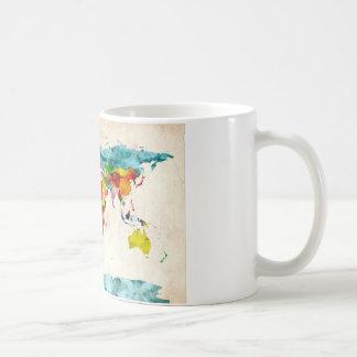 World Map Watercolors Basic White Mug