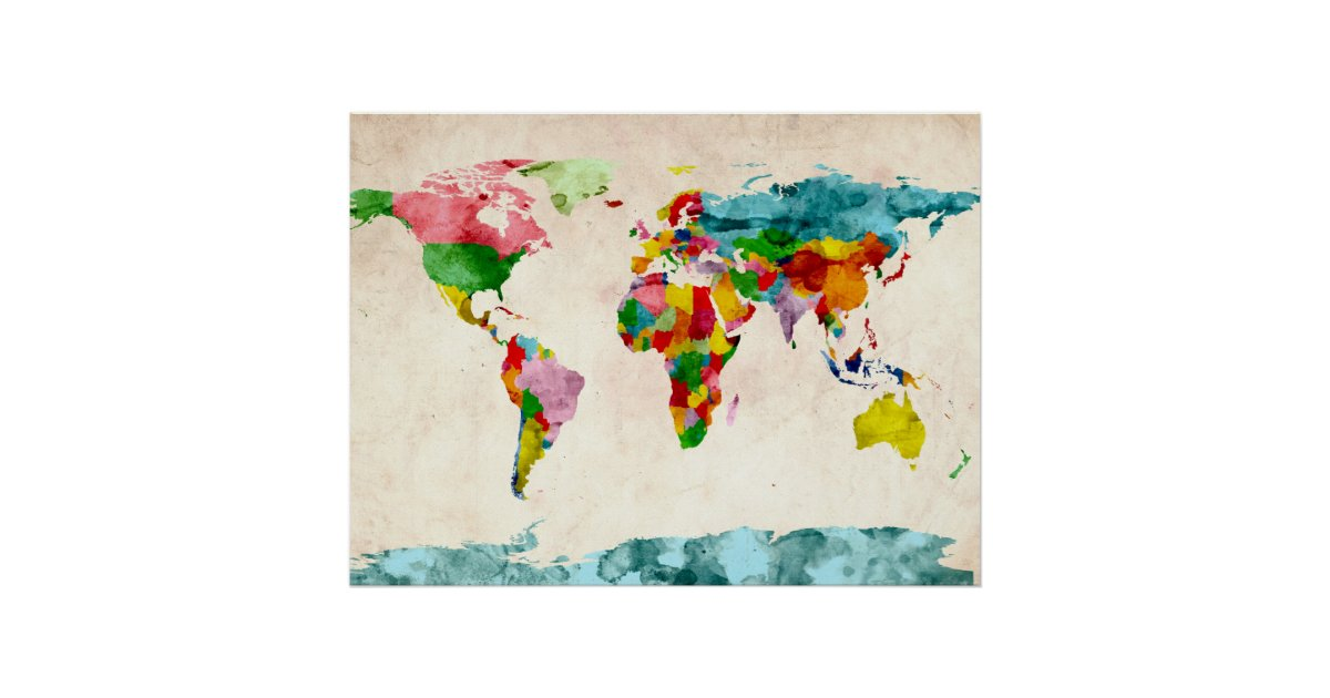 World map watercolors poster zazzle gumiabroncs Choice Image