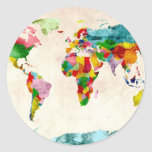 World Map Watercolors Stickers