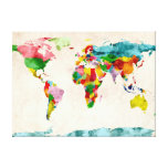 World Map Watercolors Stretched Canvas Prints