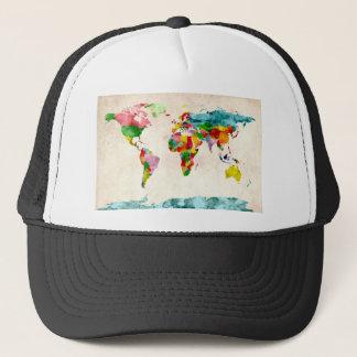 World Map Watercolors Trucker Hat