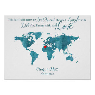 world map wedding guest book signing board teal