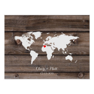 world map wedding guest book signing board wood