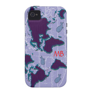 world map & whales iPhone 4/4S cases