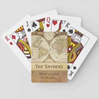 "World Map ""Where you lead..."" Playing Cards"