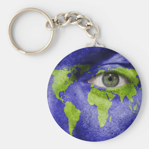 World Map with an Eye Watching Out Key Chain