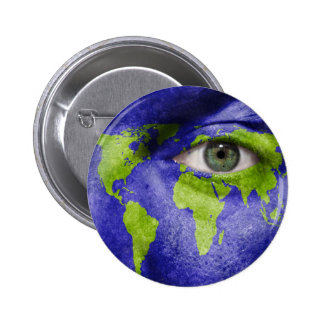 World Map with an Eye Watching Out Pinback Button