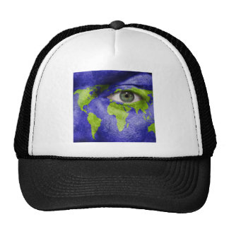 World Map with an Eye Watching Out Trucker Hat