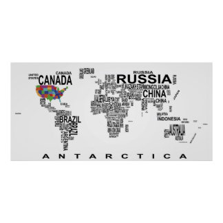 WORLD MAP with COUNTRIES as TEXT Poster