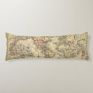 World Map with Explorers' sea routes Body Pillow