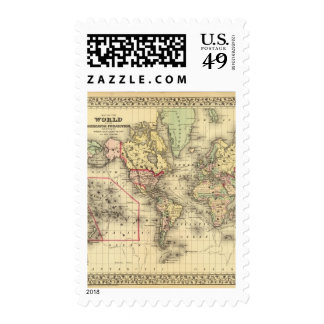 World Map with Explorers' sea routes Postage