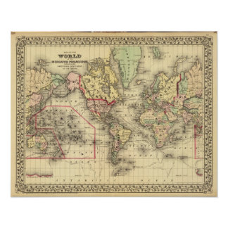 World Map with Explorers' sea routes Poster