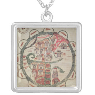 World map with Jerusalem in the centre Silver Plated Necklace