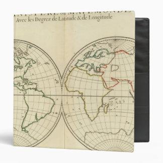World Map with Latitude and Longititude 3 Ring Binder