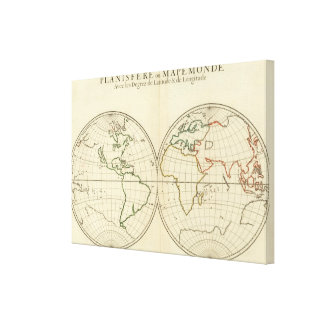 World Map with Latitude and Longititude Canvas Print