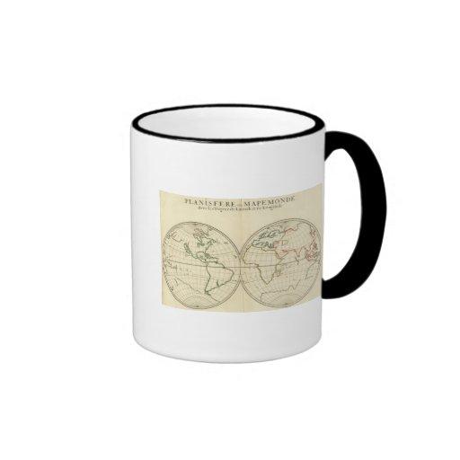 World Map with Latitude and Longititude Ringer Coffee Mug
