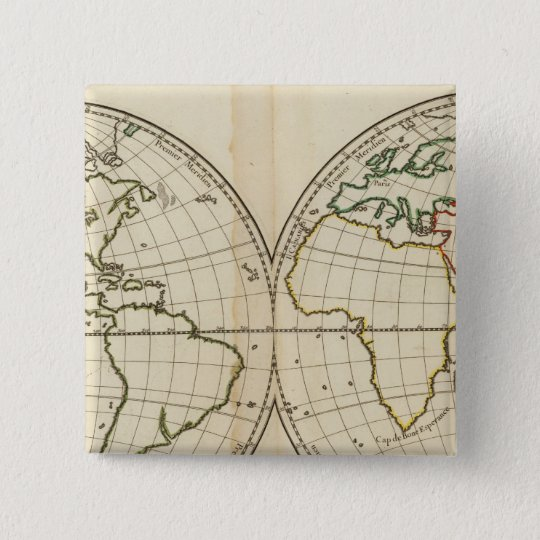 World Map with Latitude and Longititude Pinback Button