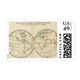 World Map with Latitude and Longititude Stamp