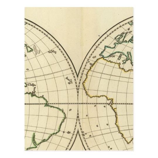 World Map with Latitude and Longititude Postcard