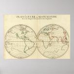World Map with Latitude and Longititude Poster