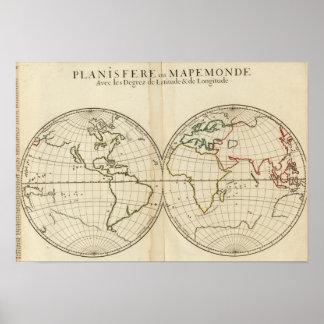 World Map with Latitude and Longititude Posters