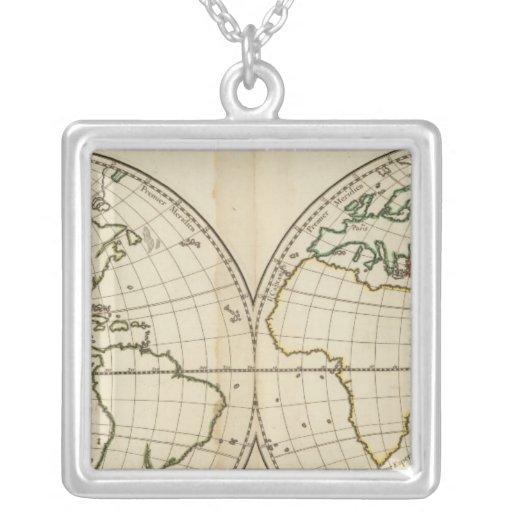 World Map with Latitude and Longititude Square Pendant Necklace