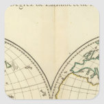 World Map with Latitude and Longititude Square Sticker