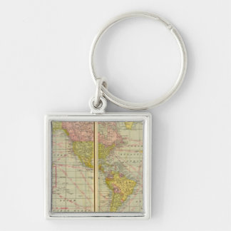 World map with shipping lanes keychain