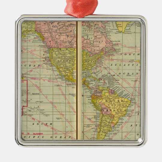 World map with shipping lanes metal ornament