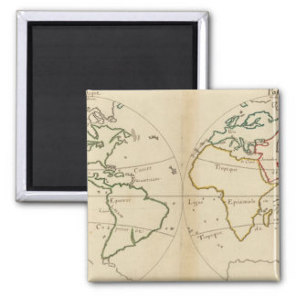 World Map with Tropics 2 Inch Square Magnet