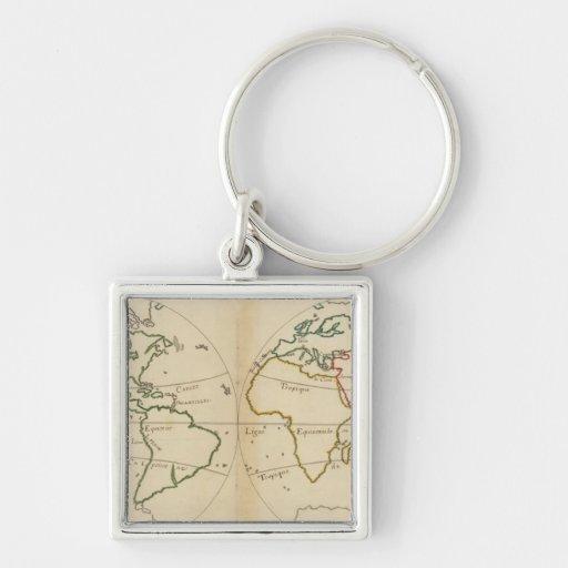 World Map with Tropics Keychain