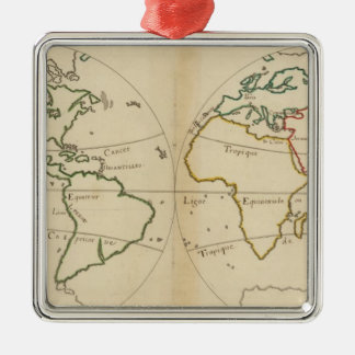 World Map with Tropics Metal Ornament