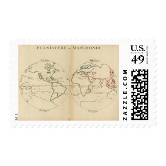 World Map with Tropics Postage Stamp