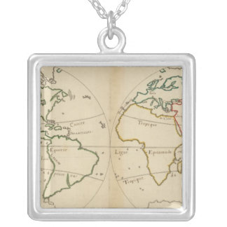 World Map with Tropics Silver Plated Necklace
