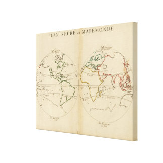 World Map with Tropics Stretched Canvas Print