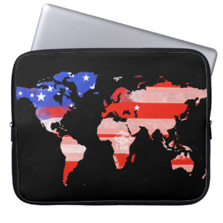 world map with USA flag Computer Sleeve